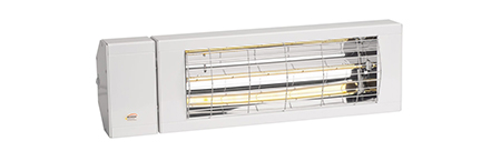 Kompakte, platzsparende Industrieheizstrahler mit Deckenmontage zur Beheizung von Logistikhallen.